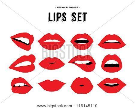 Woman's Lip Emotions Gestures Set.