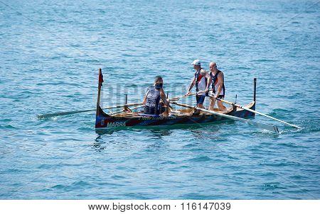 Traditional boats regatta in Valletta in Mediterranean sea on Sep 8. Traditional sport in Malta
