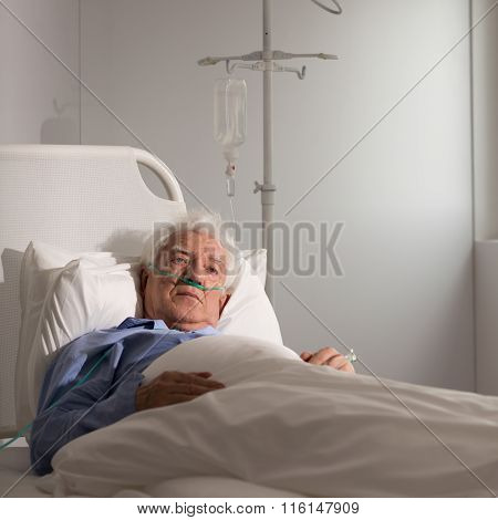 Elder Patient On A Drip