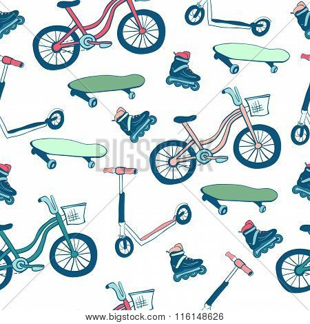 Vector Seamless Pattern Wheeled Sports Equipment.