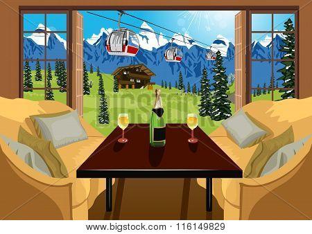 Interior of a hotel room in ski resort in summer