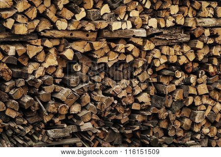 A large stack of wood