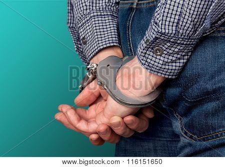 Steel handcuffs.