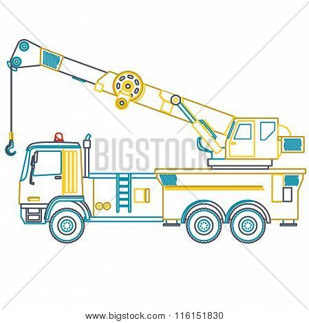 Blue yellow outline crane with hook and arm on white.