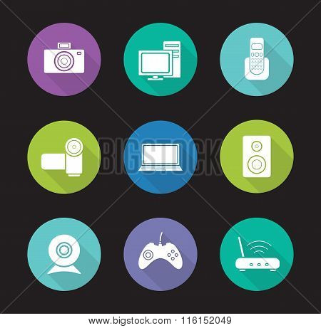 Consumer electronics flat design icons set