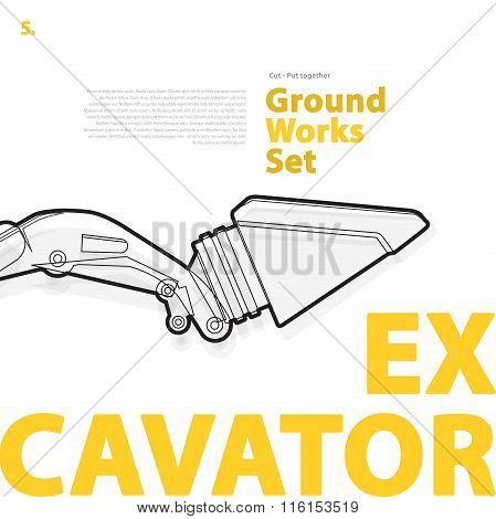 Excavator - yellow and orange typography set of ground works machines vehicles on white.