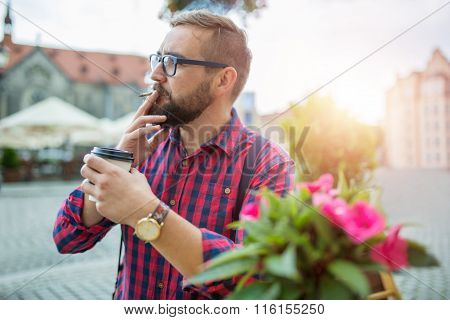 Morning Chillout With Coffee And Cigarette