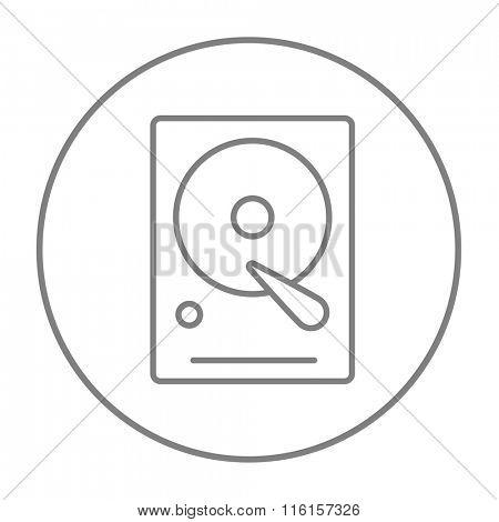 Hard disk line icon.