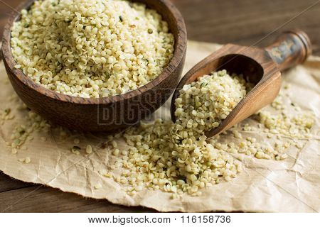 Uncooked Hemp Seeds In A Bowl With A Spoon