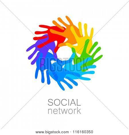 Social network - logo template.  Social network icons, network logo, social network people.