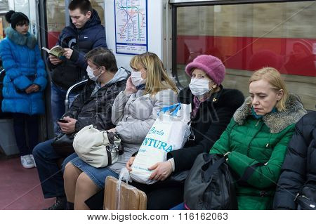 People In The Subway In Gauze Bandages Protected Against Swine Flu