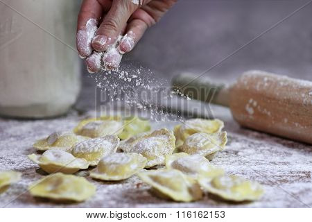 Italian Fresh Ravioli Being Prepared