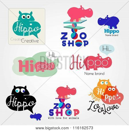 Hippo logo. Animal logo. Zoo hand made icons. Hippopotamus label. Color logos with the Hippo.