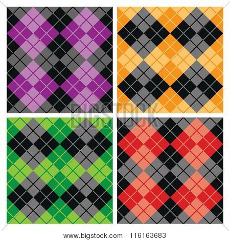 Seamless argyle pattern collection of alternating colors with black.