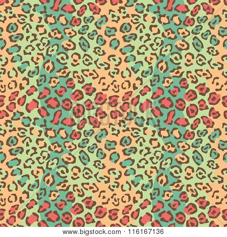 Spotted Cat Pattern in orange and green repeats seamlessly. This is a four-tile repeat.
