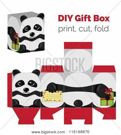 Adorable Do It Yourself DIY panda gift box with ears for sweets, candies, small presents. Printable