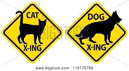 Cat And Dog Crossing Signs