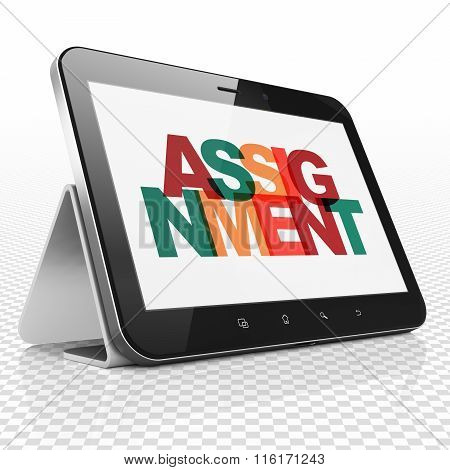 Law concept: Tablet Computer with Assignment on  display