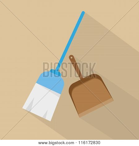 Broom Icon Vector. Flat Design