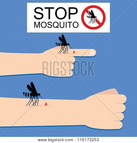 Stop Mosquito. Flat Style