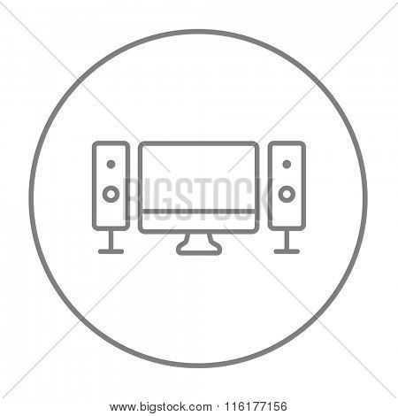 Home cinema system line icon.