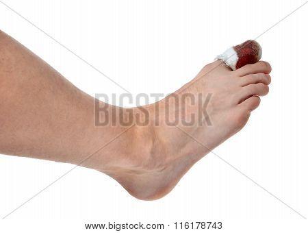 Mans Leg With Blood Bandaged Painful Big Toe Leg Area Isolated