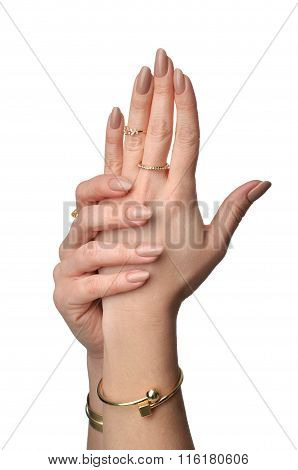 Beautiful Woman Hands With French Manicure Nails And Fashion Jewelry Rings