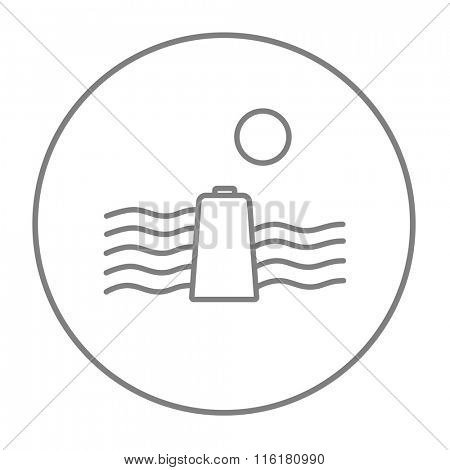 Solar energy and hydropower line icon.