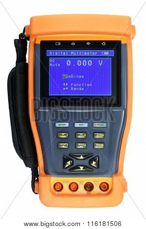 Digital Multimeter In A Protective Cover Isolated On The White Background