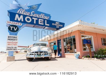 Blue Swallow Motel, Tucumcari Route 66 New Mexico Usa.