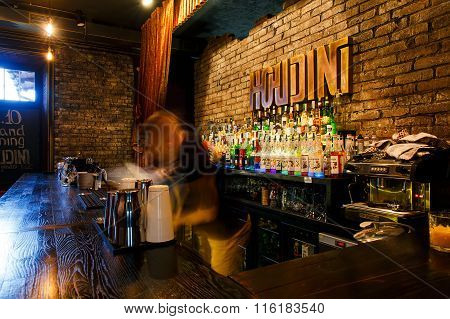 The Bartender Quickly Working