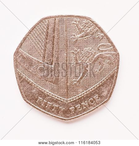 Uk 50 Pence Coin Vintage