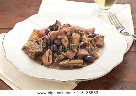 Sanremo Squid With Potatoes, Artichokes And Olives Taggia