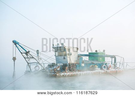 funny boat in the fog