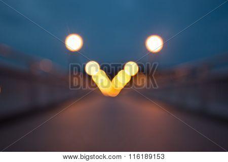 Night Light On The Bridge Background,a Little Bit Blurred Bokeh.