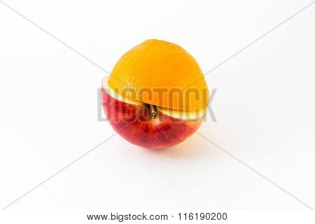 Creative Apple Combined From Red Apple And Orange Half Isolated On White. Concept
