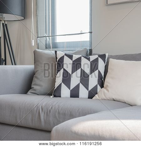 Modern Living Room With Black Abd White Pillows