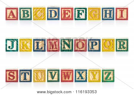 Colorful Wood Alphabet Blocks Isolated On White