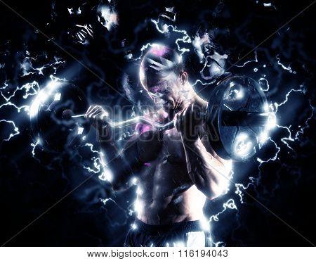 Muscular Body Building Man Thunder Lighting Electricity