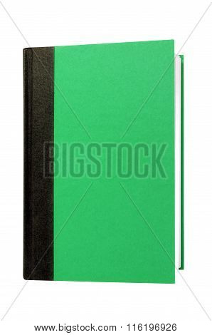 Green Hardcover Book Front Cover Upright Vertical Isolated On White