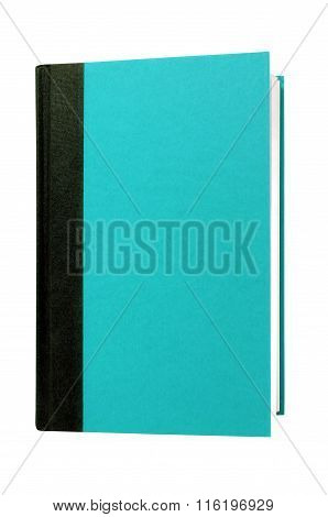 Light Blue Cyan Hardcover Book Front Cover Upright Vertical Isolated On White