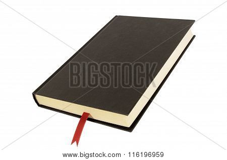Black Plain Hardcover Book Or Bible Front Cover Red Bookmark Isolated On White