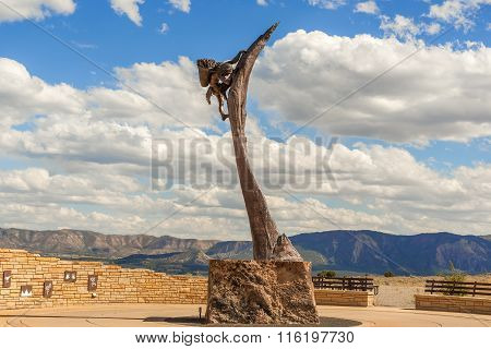 Monument In Front Of Mesa Verde National Park In Colorado