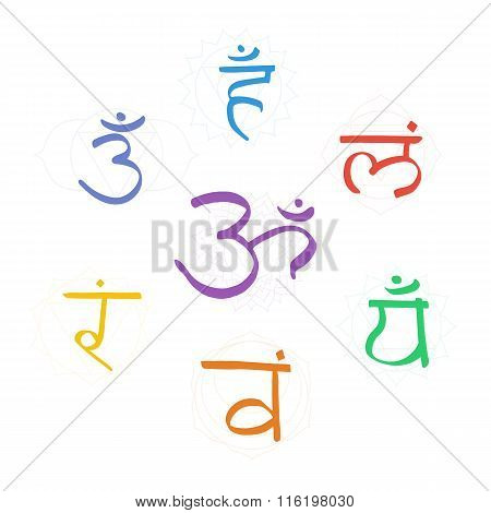 The seven color bija mantras with chakras set style. Linear character illustration of Hinduism and Buddhism. For design associated with yoga and India. poster