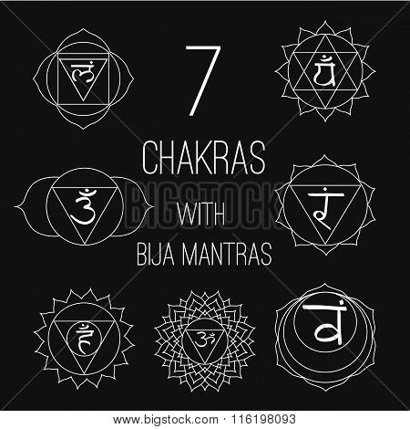 The seven chakras with bija mantras set style white on the black background. Linear character illustration of Hinduism and Buddhism. For design associated with yoga and India.