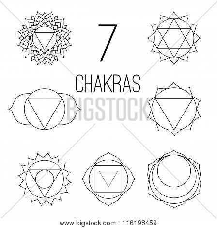 The seven chakras set style black on the white background. Linear character illustration of Hinduism and Buddhism. For design associated with yoga and India.