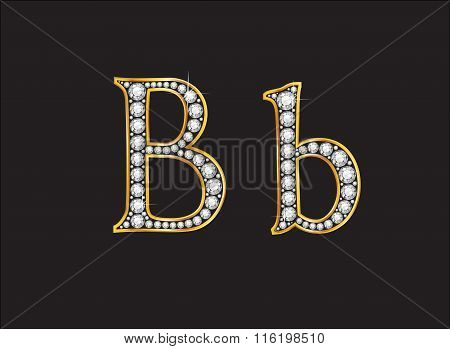 Bb Diamond Jeweled Font With Gold Channels