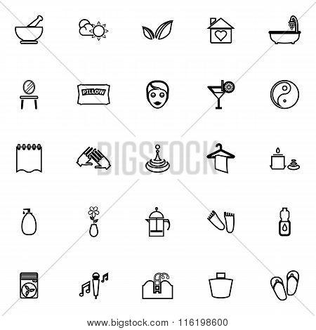 Massage Line Icons On White Background