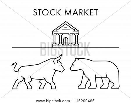 Line Concept For Stock Market. Vector Bull And Bear.