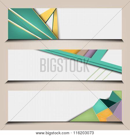 polygonal abstract banners set